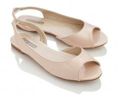 Amazon.com: Fiebiger Coconut Patent Peep-Toe Slingback Flats - Nude