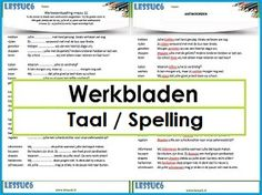 Werkbladen Taal / Spelling