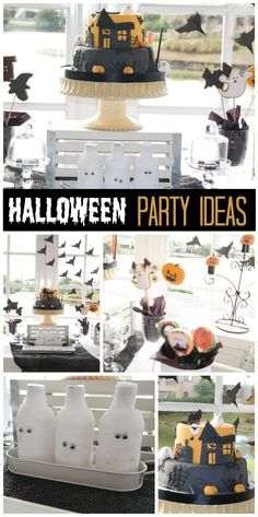 A black, white and orange Halloween party with mummies, bats and a haunted house cake!  See more party ideas at CatchMyParty.com!