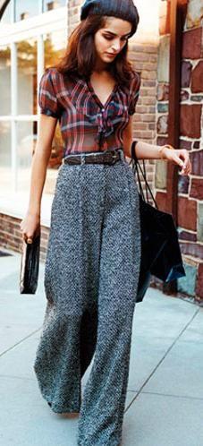wide-leg trousers + plaid. wide leg pants, fall fashions, trousers fashion, wideleg trouser, wide pant, blous, outfit, beret, plaid shirt