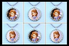 6 Sofia Sophia The First Bottle Cap Necklaces Party Favor Loot Bag Gift | eBay