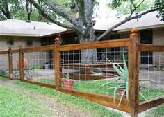 If you have a large property to fence in, this is a cheaper option.....Yard Fence Ideas @elise Richaud