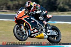 Aprilia's Max Biaggi aboard the RSV4 at Phillip Island, Australia, during a qualifying session...