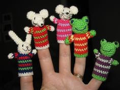 Finger puppets crochet pattern toy for Bunny Rabbit, Mouse and Green Frog. PDF file.. $3.50, via Etsy.