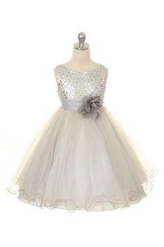 Flower Girl Dress Silver/Grey Sequin Mesh by BURATINOBOUTIQUE, $40.00