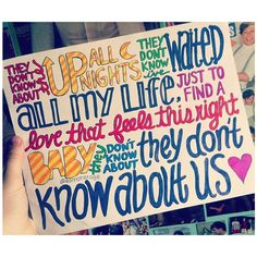 They Don't Know About Us Lyric Drawing ($5) found on Polyvore