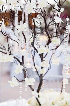 Manzanita tree centerpiece.