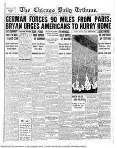 Aug. 28, 1914: German forces press on - 90 miles from Paris.
