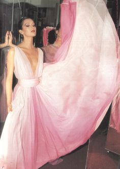 Pink Halston evening gown- #DoYouRemember #Halston #70s #glamour