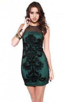 Strapless Burnout Mesh Overlay Dress in Black Green