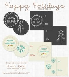 FREE Printables Hand Drawn  Happy Holidays and Merry Christmas Labels by @Catherine Auger