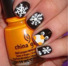 I need these permenantly tattooed onto my nails. Someone figure out how to do that please. makeup, christmas nails, snowflakes, beauti, penguins, winter nails, hair, penguin nail, nail art
