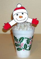 Marshmallow snowman cup craft from www.daniellesplace.com