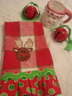 Reindeer applique on hand towel/tea towel