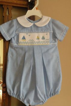 Blue Gingham shortall smocked with sail boats