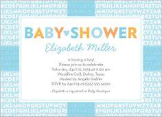 Alphabet Shower Boy Baby Shower Invitation