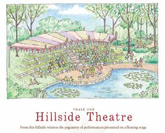 The planned Hillside Theater will allow spectators to enjoy entertainment on the floating stage at Lost Hollow: The Kimbrell Children's Garden, at Daniel Stowe Botanical Garden