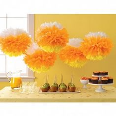 tissue paper candy corn decorations