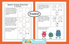 Monster Guided Drawing Freebie from HeidiSongs