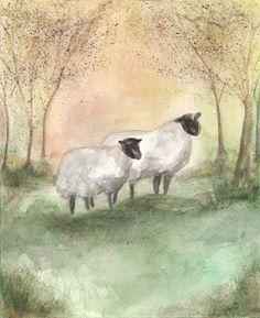 Sheep/Lamb/Ewe/Field with trees/ Watercolor Print - Kelly Bernudez