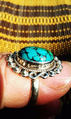 Size 8 Blue Turquoise Ring by JewelsandClothes on Etsy, $37.50