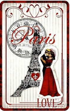 12 HANG/GIFT TAGS FROM PARIS WITH LOVE IMAGES(669A)