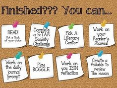 Early finishers board... AKA differentiated instruction!