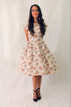 50s floral short sleeve bridesmaid dress, 1950s prom dress, mad men dresses, date dress, rehearsal dinner dress graduation dress CUSTOM MADE...