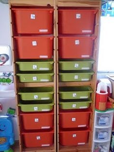 Trofast system from IKEA for workboxes.