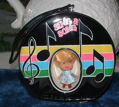 Retro Liddle Kiddle Type 1960's Black Round Purse with Doll - Vintage Sing a Song Kiddle Knock Offs 1960's -1970's