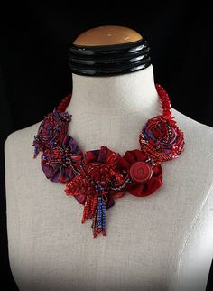 YOLANDA Red Purple Beaded Textile Statement by carlafoxdesign,