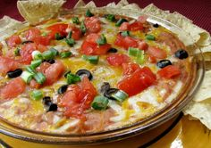 Mexican Mess: 16 oz can fat free refried beans, 1 C salsa, 4 oz green chilies, 1 C shredded cheese. Spray pie plate, mix all together and place in pie plate, bake 350 for 15 min or hot in center. Add extra cheese, black olives, green onions and tomatoes (optional)