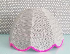 Grey and pink neon crochet lampshade. $70.00, via Etsy.