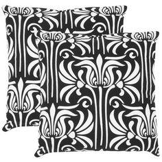 Safavieh Damia Decorative Pillows in Black and White (Set of 2)