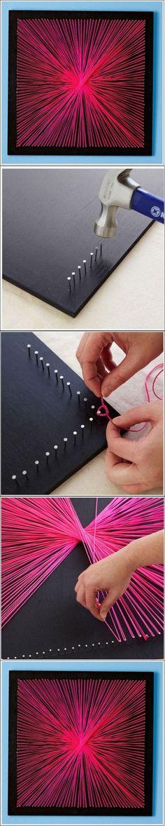 DIY String Art DIY String Art by diyforever wall art, crafti, diy crafts, shadow box, craft idea, art pictur, string art, stringart, diy string