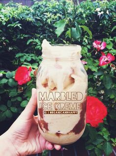 Marbled Ice Kreme Recipe 7 frozen bananas (or however many you like) 1/3 cup water or coconut water Blend  Makes 32 oz of kremey deliciousness! Cacao Syrup Recipe 1 tbsp cacao powder  1 date (or sweetener of choice, stevia, etc) 2 tsp water or less Blend  Pour onto your Banana Ice Kreme and enjoy! Follow for more raw vegan recipes  advice!