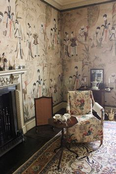 Chinese wallpaper in the Chinese Dressing Room, Saltram, Devon