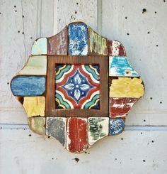 Reclaimed Wood Art Mosaic Framed Mexican tile