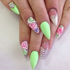 ✿ nailart, spring nails, 3d flower, nail art, stiletto