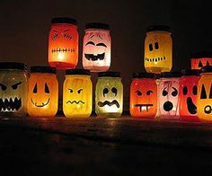 holiday, halloween decorations, canning jars, painted mason jars, halloween crafts, jar lights, painted jars, kid, tea lights