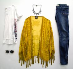 lazy day outfit: blu moon kimono, etienne marcel jeans, sundry tee, natalie b. necklace, toms sunnies