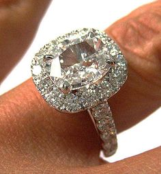 cushion cut diamond engagement ring, halo setting