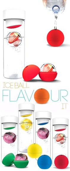 An Icecold Infusion of Flavour in your Water! (1)Place your favourite fruit in the ice ball infuser (2)Add water or favourite beverage (3)Freeze ice ball infuser (4)Add ice ball to your water bottle and enjoy!