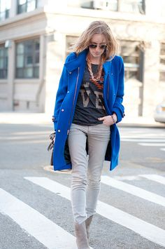 perfect mix of #brightcolor , edge and chic by @eatsleepwear #loveherstyle