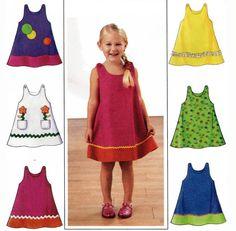 Infant & Toddler Little Girls Classic Summer Rick Rack Jumper or Lightweight Denim Sundress Pattern by TheOldLeaf, $4.99 #ToddlerDresses #BabyClothes