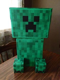 Minecraft Creeper...Zac's Valentine's Day box...just needs a heart sticker and it's ready to go :)