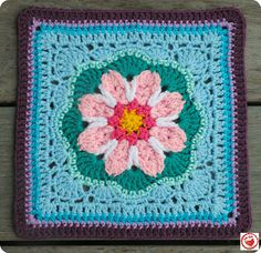 "Tussy-Mussy 12"" square, free pattern by by Rebecca Bisbing"