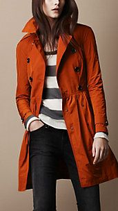 fabric gather, style, skirt trench, burberry, burnt orange