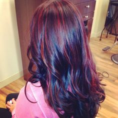 red on black 4 Pretty Hair Highlights Ideas purple hair, red hair, black hair, hairstyle ideas, new hair colors, hair highlights, brown hair, red highlights, red black