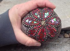 Iridescent Red Flower Mosaic Paperweight / by ChrisEmmertMosaic